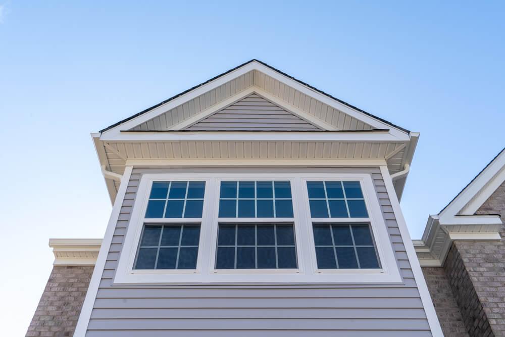 Double hung windows on a suburban home